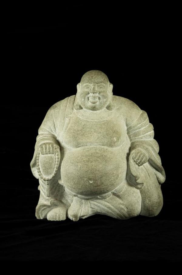 Lot 15080146: Granite Stone Laughing Buddha Statue | Gosby Antiques